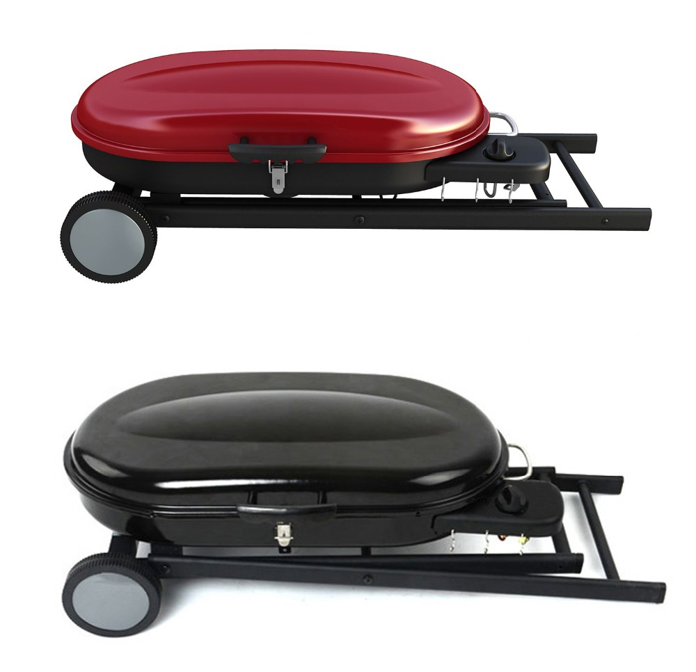 Aangepaste draagbare propaan lp gas grills met opvouwbare trolley kar voor op de camping - Plancha trolley gas met deksel ...