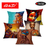 G&D Fashion Lady African Oil Painting Art House Decoration Sofa Cotton Linen Cushion Cover