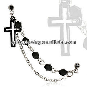 316L Surgical Steel Black IP Plated Chained Cross Cartilage Earring Body Piercing Jewelry