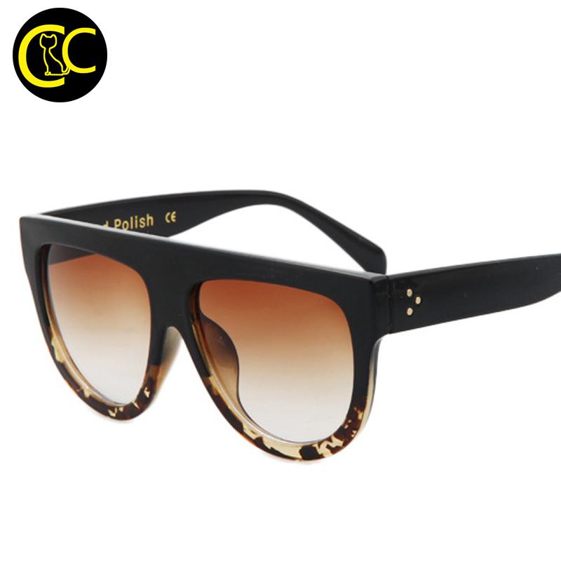 5cd16073ea32 2016 Fashion Flat Top Sunglasses Women Brand Designer Vintage Sun glasses  For Women Female Oversized Frame Shades UV400 CC5087