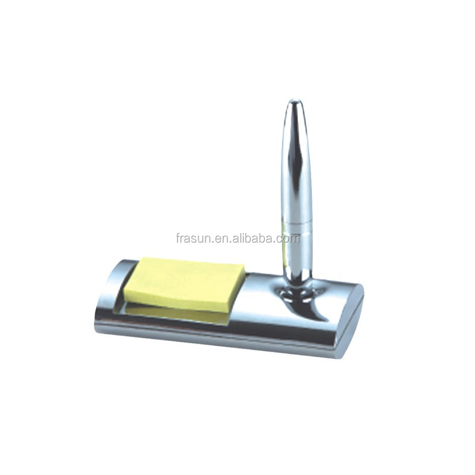 Custom counter desk standing magnetic ballpoint pen with memo pad