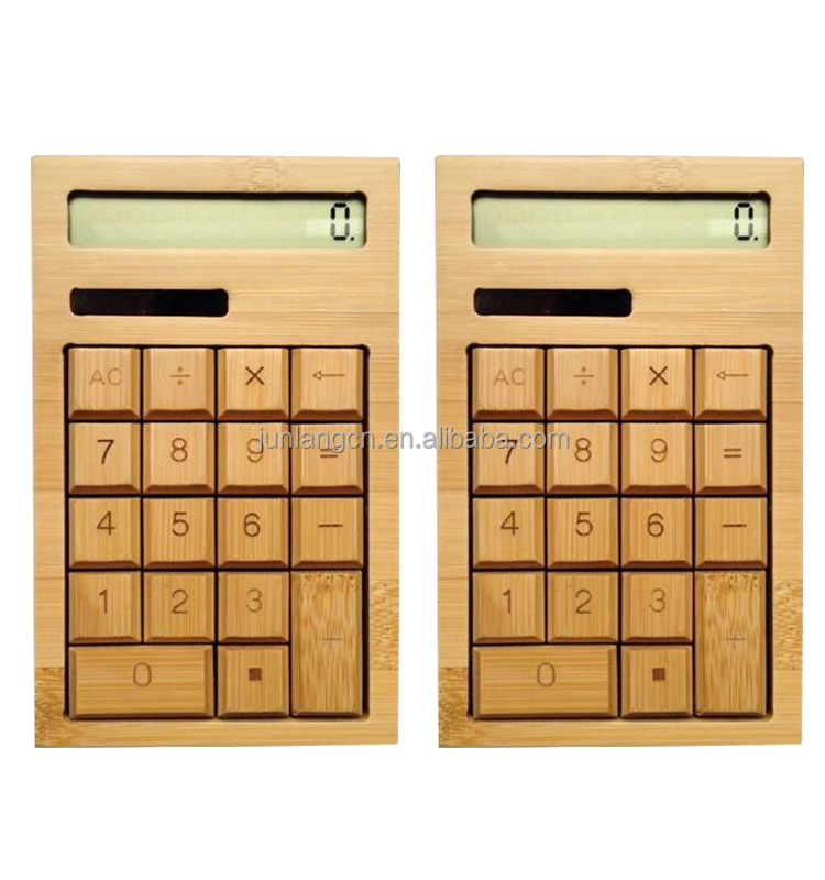New arrival Solar Charge Bamboo Wood Calculator desktop calculator