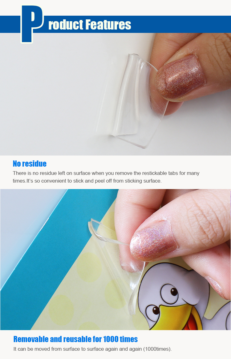 Wiederverwendbare Restickable Keine Rückstände Abnehmbare Klare Klebstoff Gluee Punkte Münze Band Klebrige Montage Band
