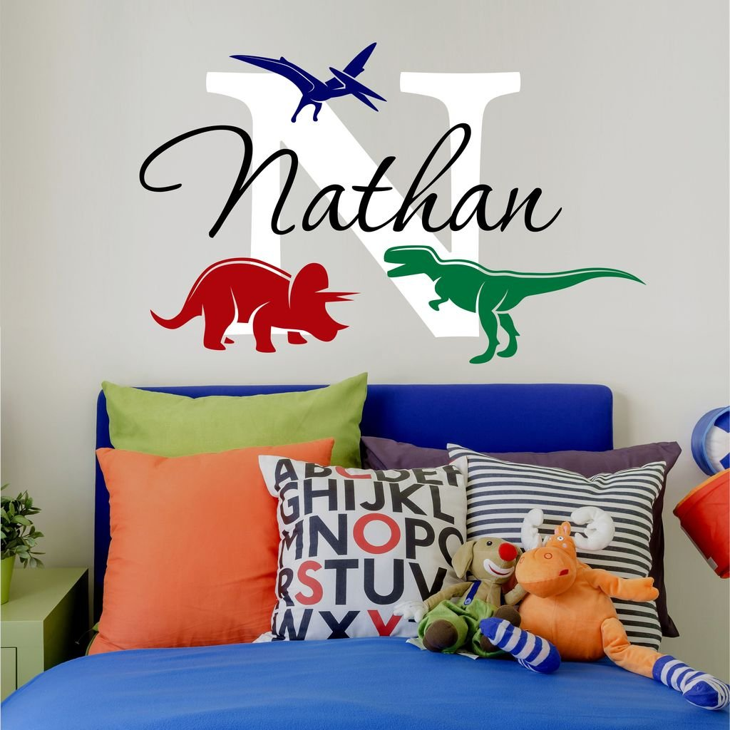 "Nursery Boys Name and Initial Dinosaurs Personalized Name Wall Decal 34"" W by 22"" H, Boys Nursery Name Decals, Boys Dinosaur Wall Decals, Wall Stickers, Boys Decals PLUS FREE HELLO DOOR DECAL"