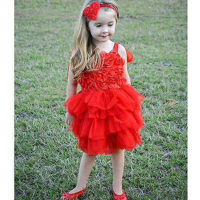 Baby Girls Princess Party Wedding Rose Flower Tutu Cake Gown font b Fancy b font font