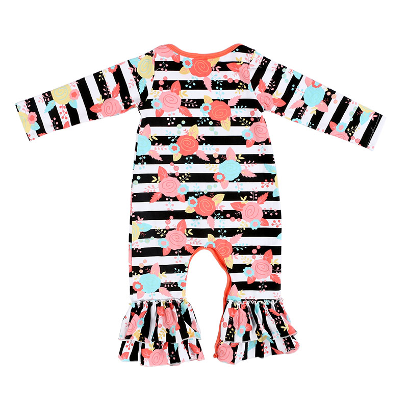 652a3c0d5 Black And White Stripe With Floral All Over Prints Baby Romper Suit ...
