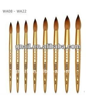 Kolinsky Brush Short Professional Premium Acrylic Nail Round Crimped Handle