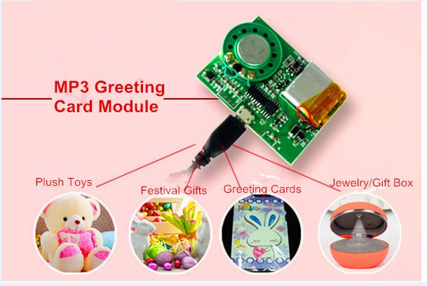 Battery Operated Push Button Triggered MP3 Sound Module for Greeting Card