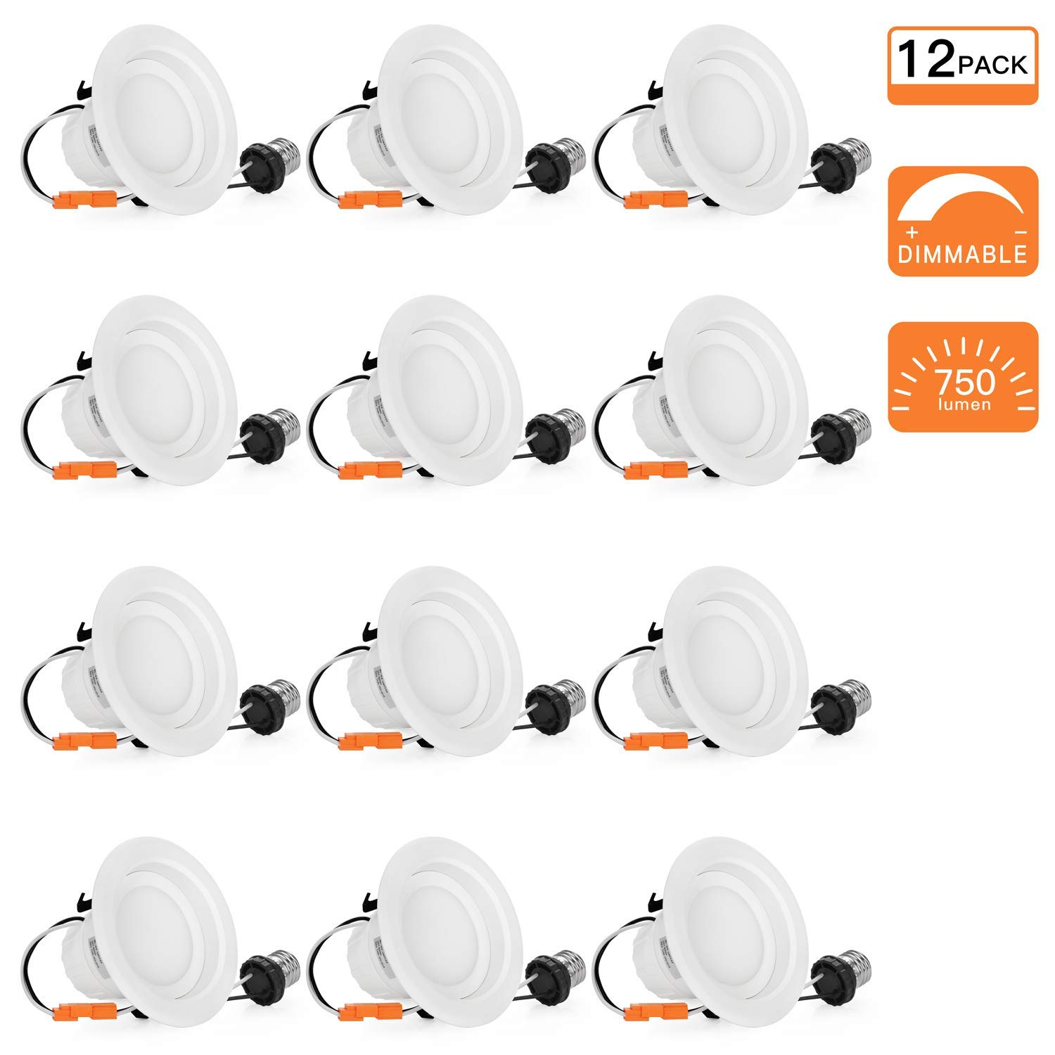 SGL 12-Pack 4 inch Dimmable LED Recessed Lighting, 9W (65W Replacement), 3000K Warm Light, 750Lm, LED Downlight