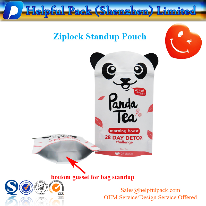 factory customized Panda shape tea packaging bag matte foil standup pouch food grade doypack plastic zipper bag