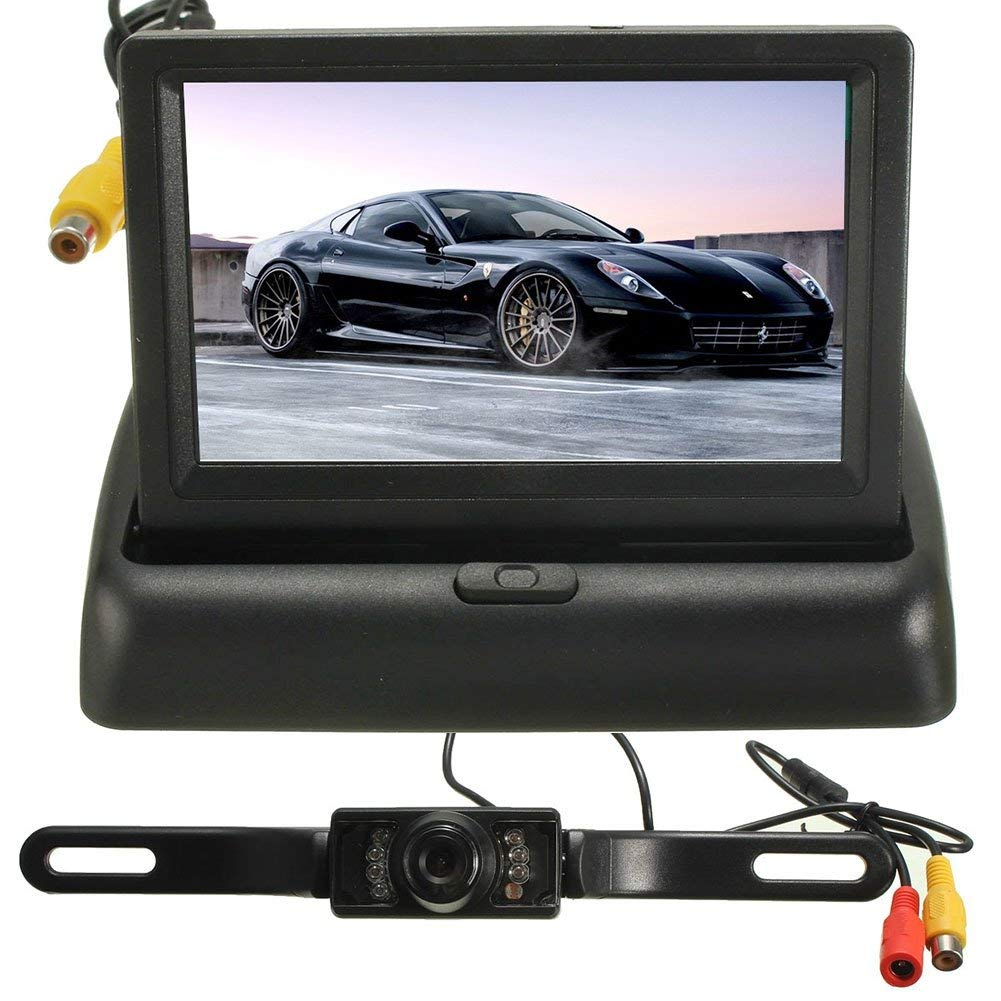 Ywillink Car Backup Camera Rear View System Night Vision Wireless 4.3 Inch TFT LCD Foldable Monitor