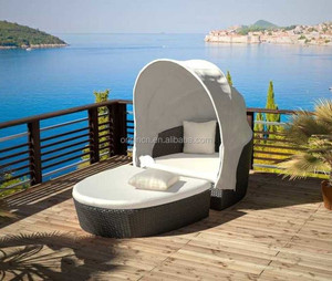 Oyster-shaped 2 pc oval outdoor garden leisure day bed furniture outdoor canopy rattan sunbed