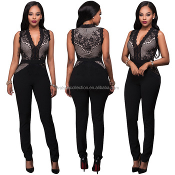 Womens Ladies Clubwear Jumpsuit Lace Bodycon Playsuit Long Trousers