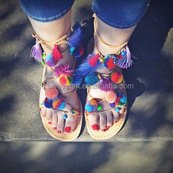 af2971a255406 Boho Style Leather Tassel Pom Pom Sandals Colorful Tie Up Gladiator Sandals  - Buy Boho Tie Up Sandals,Gladiator Sandals,Pom Pom Colorful Sandals ...