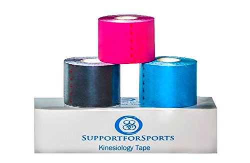 "Support for Sports Kinesiology Tape 2"" x 16.4', 5m x 5cm Combo Pack of 3 Provides Support During Healing Therapeutic Muscle Relief (Blue, Pink, Black)"