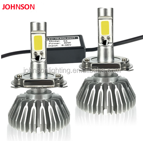 JOHNSON Super Bright H4 led bulb COB chip 40W 4000lm headlights 6000K Automobiles 12V 24V Hi Lo Beam HID replacement DRL