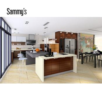 Solid Wood Walnut Kitchen Cabinets Veneer Kitchen - Buy ...