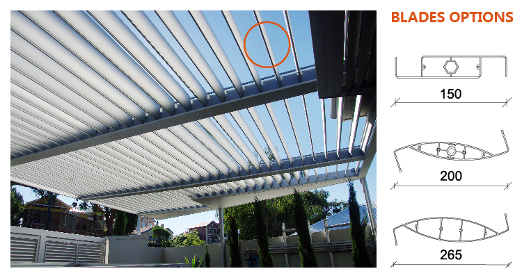 Motorized waterproof pergola shade louver roof 4x3