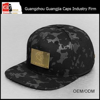 Guangjia Cap Manufacturer Wholesale Custom Metal Logo Gold Plate Snapback  Hats 401865cf9b4