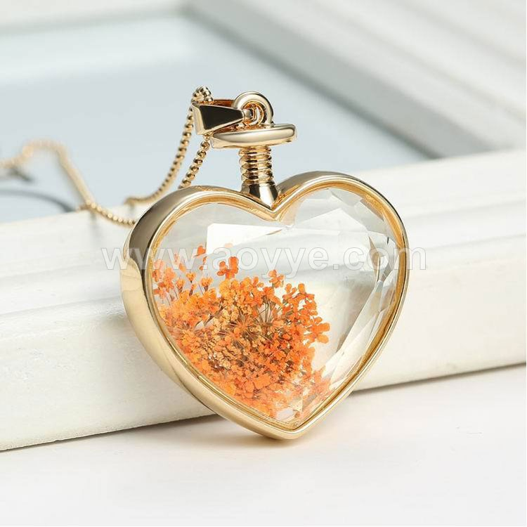 Heart shape wholesale fashion Pentagram colorful birthstone crystal glass box Wish stone necklace gold necklace stone gift