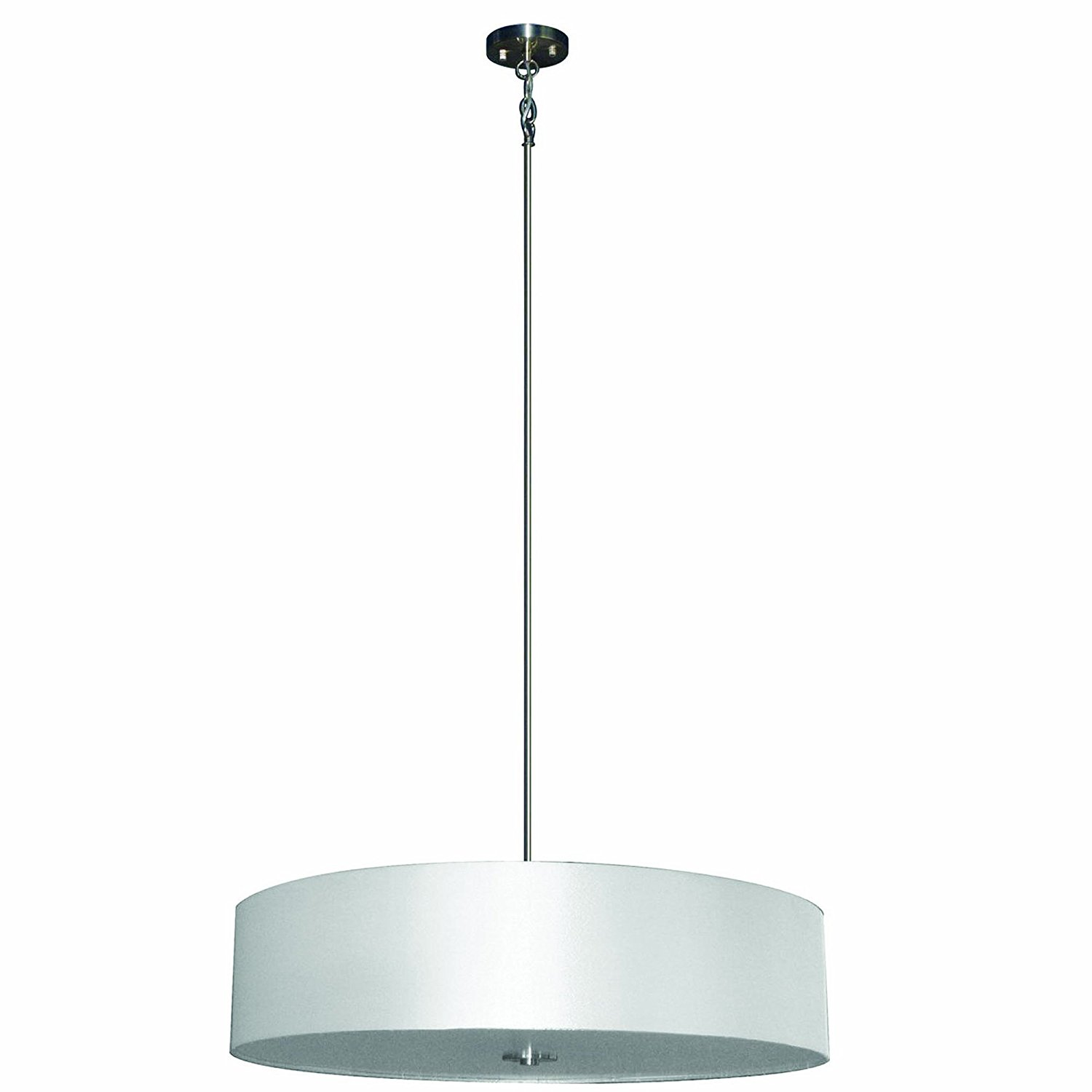 Yosemite Home Decor SH3007-5P-PWSS 5-Lights Pendant with Pristine White Shade, Satin Steel