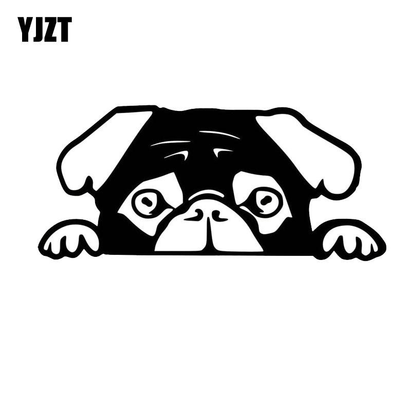 Yjzt 156 7cm Peeking Pug Puppy Cut Vinyl Decal Car Vinyl Sticker C2