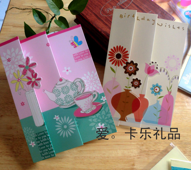 6pcs/lot Creative 3D Fold Design Greeting Cards With