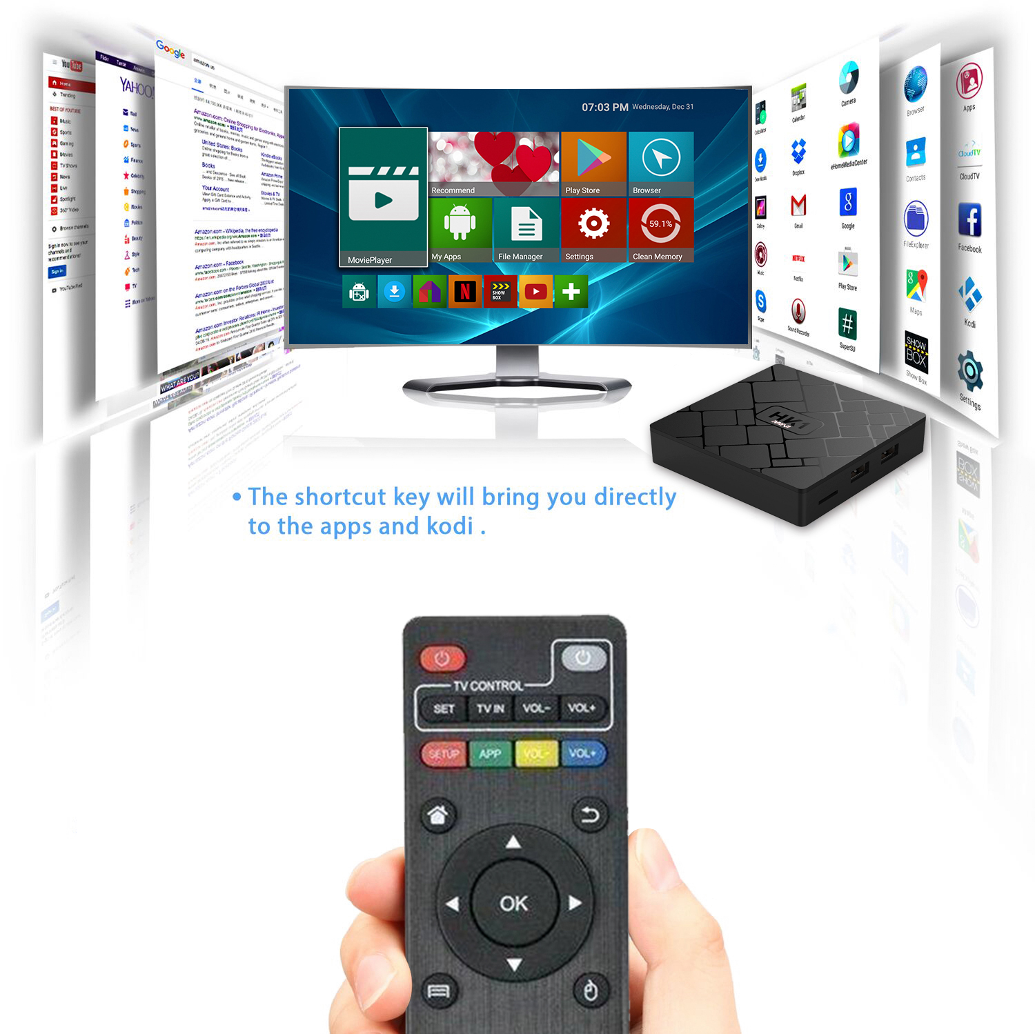 Rk3229 Android Support Mcott with Skype 8.1 Android 4K HK1 Mini Cloud Box Set Top Box Land Raspberry TV Box