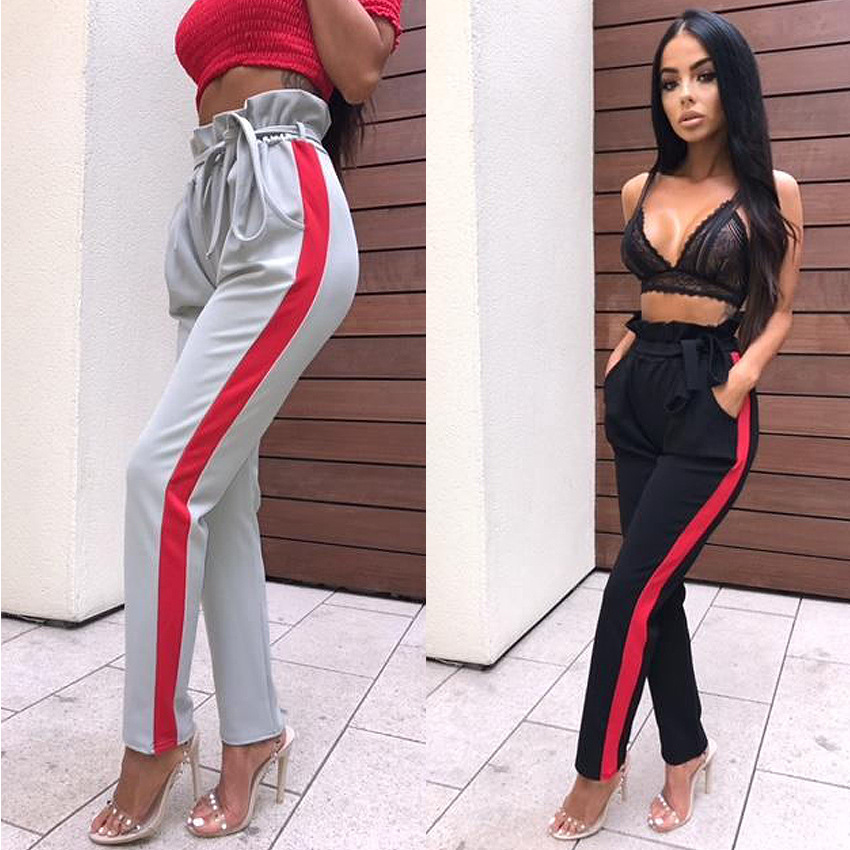L3597A New arrival trendy side striped women casual sports pants black high waist loose trousers