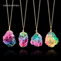Colorful Crystal 925 Silver Pendant Chain Necklace
