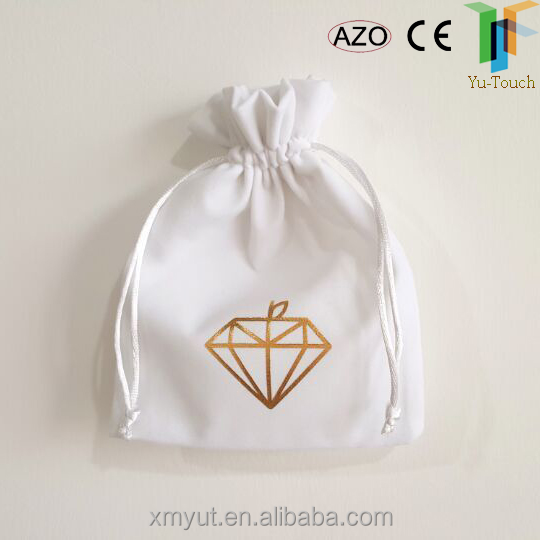 logo printed suede jewelry pouch/suede drawstring bag