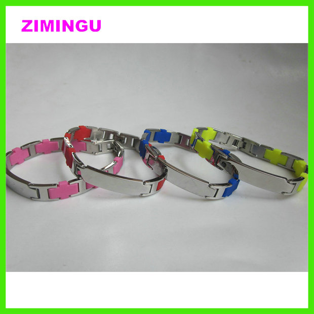 Silicone id bracelet with metal