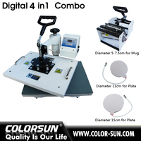 You can choose four to match that combo 4 in 1 heat press machine