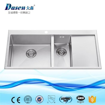 Elegance Inox Double Bowl Apartment Size Kitchen Fish Cleaning Sinks With Soap Dispenser