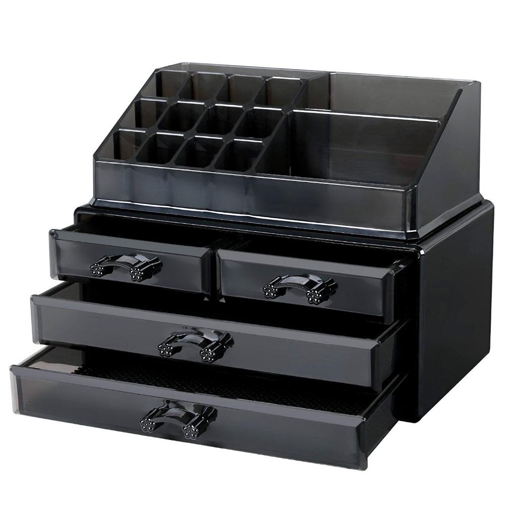 Acrylic Cosmetic Organizer Jewelry Storage Case Black Acrylic Makeup