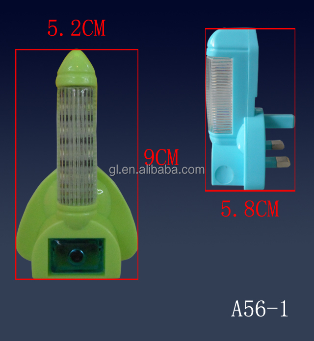 A56 BS Plug in rocket shape sleep trainer for baby  led sensor night light  bedroom nursery kids