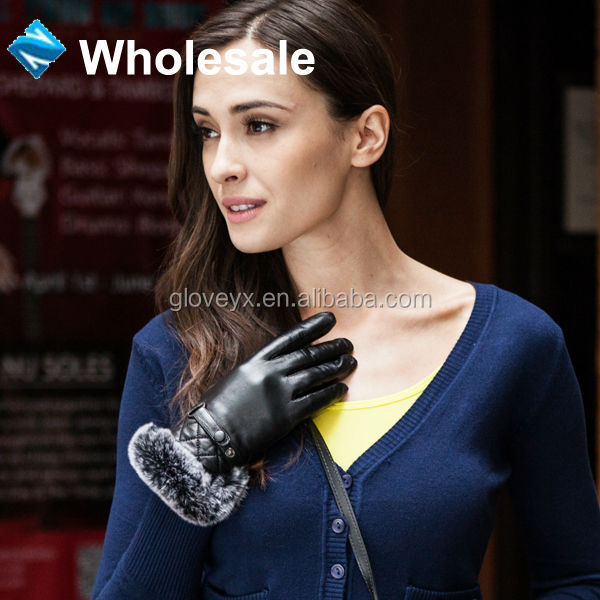 Fashion Winter Women Fur Cuff Leather Mittens Touch Screen Gloves