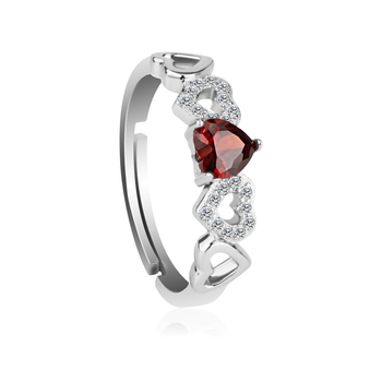 OUXI design sweet gift 925 sterling silver AAA rhodium plated heart cubic zirconia rings