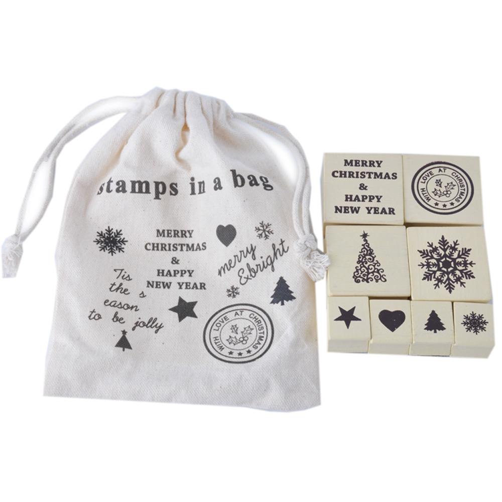 8pcs christmas wooden stamp set in cotton bag for DIY Craft card making