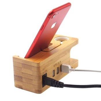 Portable Desktop Wood Cell Phone Charging Dock Station With 3 Usb Port And Organizer Function