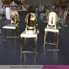 gold stainless steel metal bases oval mirror back bar stool with cushion for club