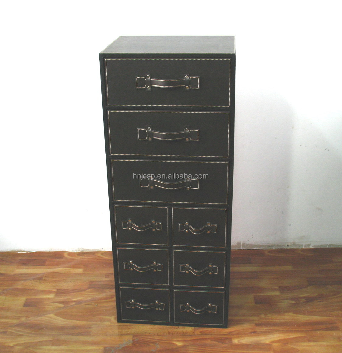 Black Faux Leather Chest Of  Drawers