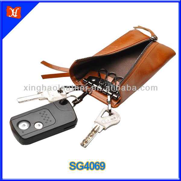 Top quality car key holder pouch genuine leather key pouch