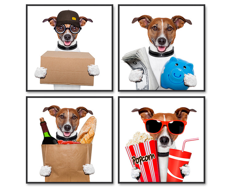 4 Sets Cute Dogs Quality Digital Picture Custom Canvas Print