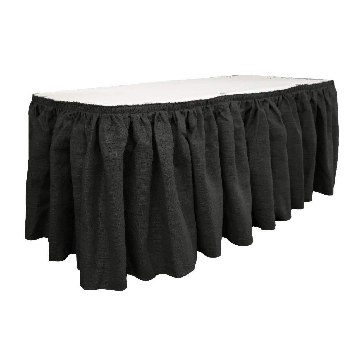 LA Linen SkirtBurlap17x29-10Lclips-Black Burlap Table Skirt with 10 L-Clips44; Black - 17 ft. x 29 in.