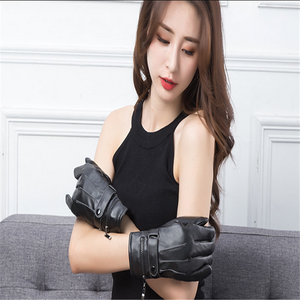 Custom design motorcycle touch screen gloves ladies long black leather gloves cycling gloves touch screen