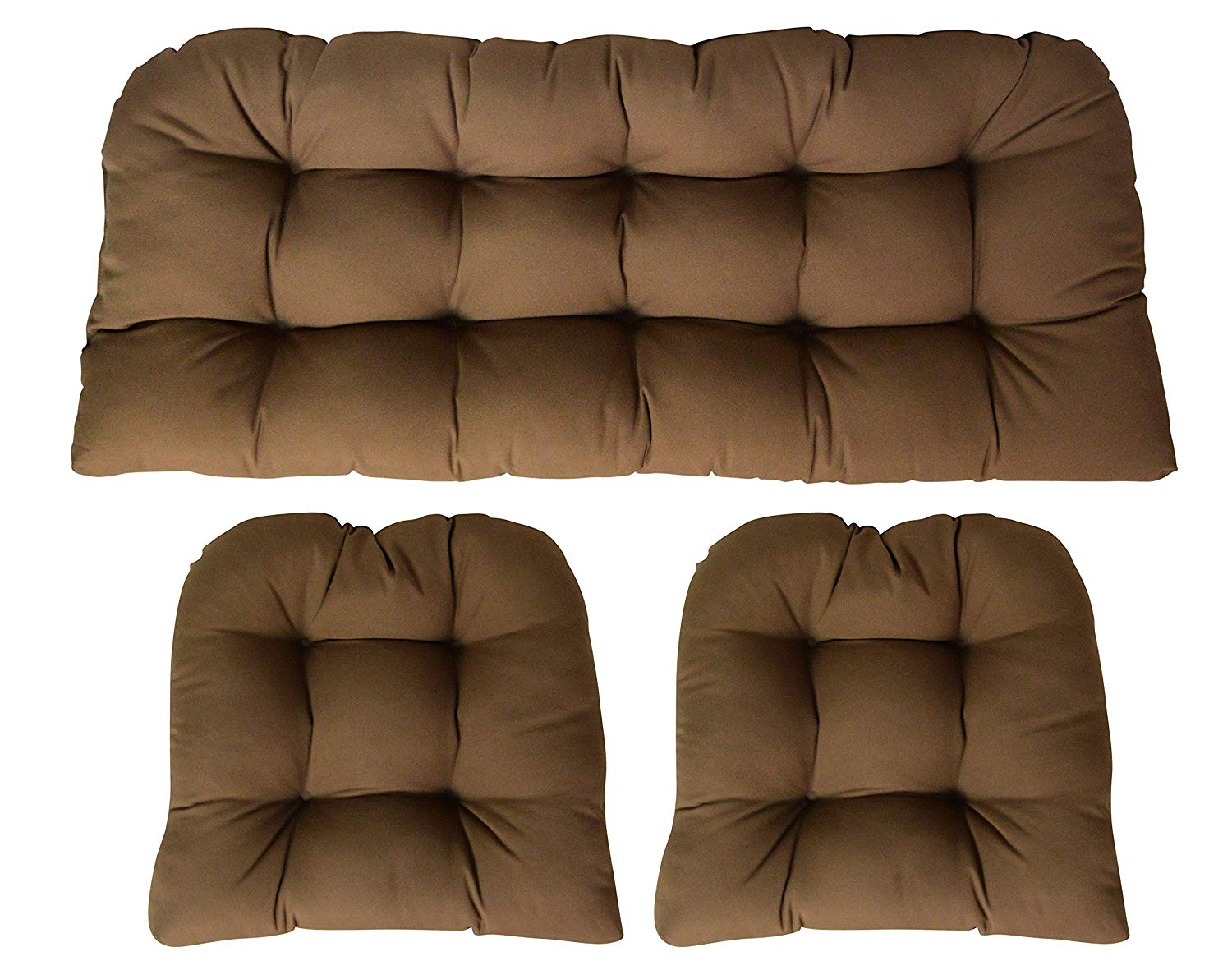 Sunbrella Canvas Chestnut 3 Piece Wicker Cushion Set - Indoor / Outdoor Wicker Loveseat Settee & 2 Matching Chair Cushions