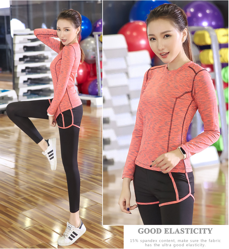 Autumn Women's Running Sports Fitness Suits Yoga Clothing Comfortable Three-piece 11