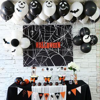 Halloween Perlengkapan Pesta Dekorasi 12 Hitam Putih Halloween