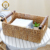 Natural water hyacinth storage baskets with wood handles